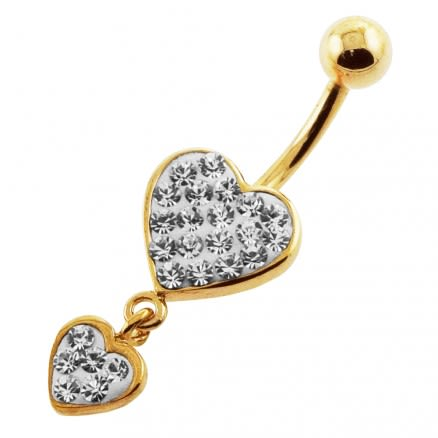 Clear Jeweled Two Heart 14G 10mm Yellow Gold Plated Sterling Silver Navel Ring