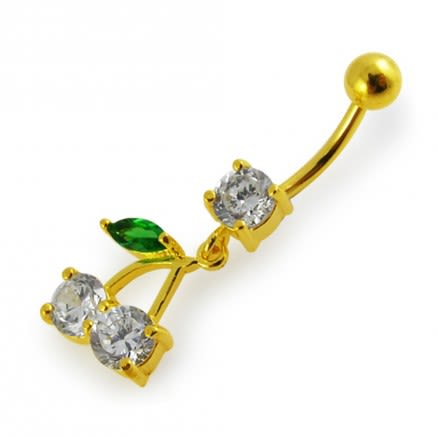 14G 10mm Yellow Gold Plated 925 Sterling Silver Cherry Navel Belly Button Ring