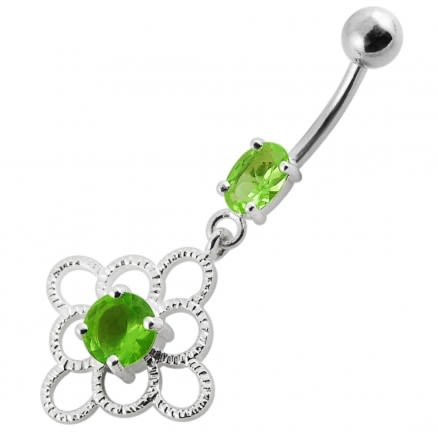 14G Jeweled Fancy Silver Dangling Belly Ring With SS Bar