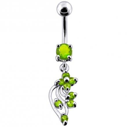 925 Silver Jeweled Fancy Dangling 316L SS Bar Belly Ring