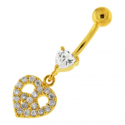 14G 10mm Yellow Gold Plated Sterling Silver Clear Jeweled Heart Shape Belly Ring