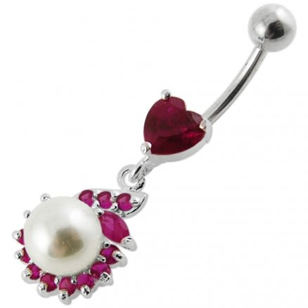 Jeweled Heart Pearl Dangling Navel Ring