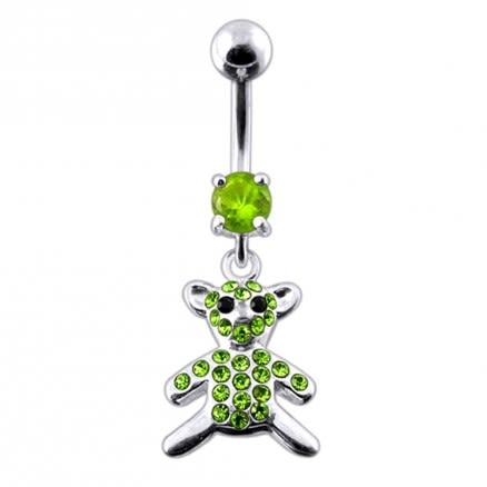 Fancy Jeweled Teddy Bear Dangling Belly Ring