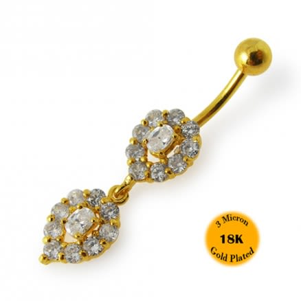 14G 10mm Yellow Gold Plated 925 Sterling Silver Clear Jeweled Navel Belly Ring