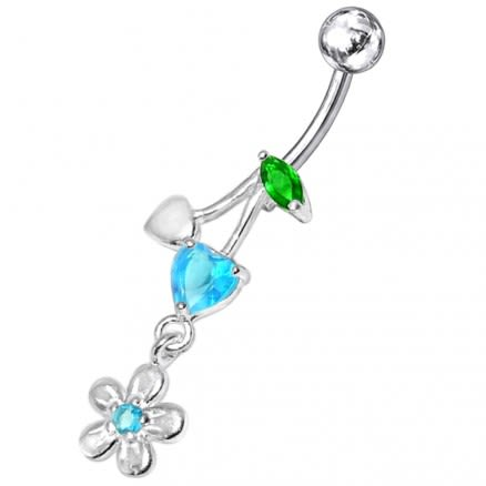 Fancy Jeweled Flower Dangling SS Banana Bar Belly Ring