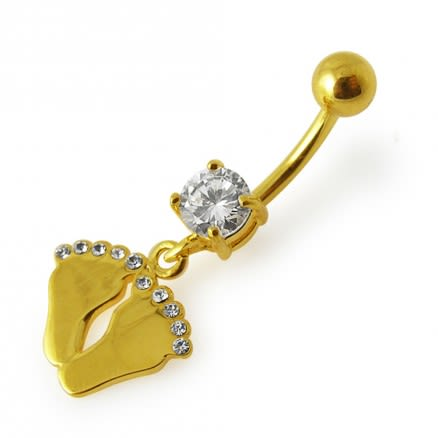 14G 10mm Yellow Gold Plated Sterling Silver Clear Jewelled Foot Print Belly Ring