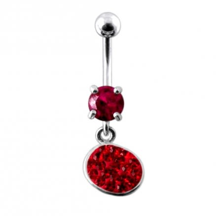 Fancy Pink Stone Jeweled Dangling SS Bar Belly Body Jewelry Ring
