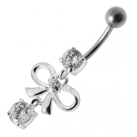 Fancy Gift Wrap Shape Jeweled Dangling Navel  Ring