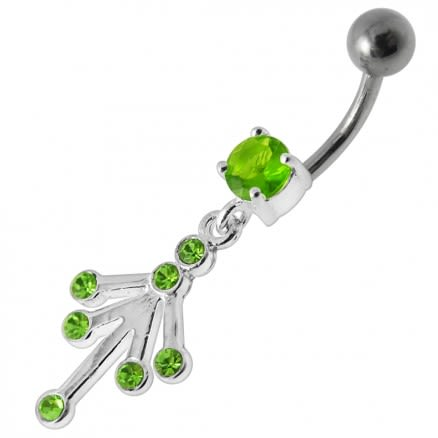 Fancy Jeweled Silver Dangling With Curved Bar Belly Ring Body Jewelry