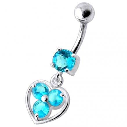 Jeweled Silver Heart Dangling SS Curved Bar Banana Belly Ring