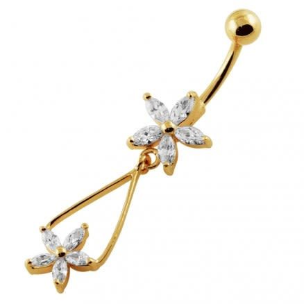 14G 10mm Yellow Gold Plated Sterling Silver Clear Jeweled Two Flower Belly Bar
