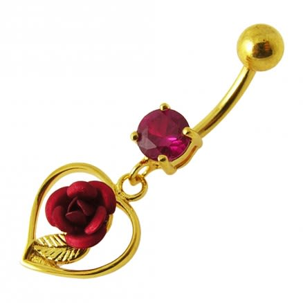 14G 10mm Yellow Gold Plated Sterling Silver Red Jeweled Rose in Heart Belly Bar