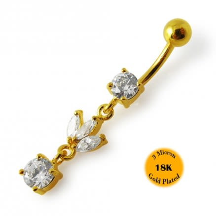 14G 10mm Yellow Gold Plated Sterling Silver Clear Jeweled Leaf Design Belly Bar