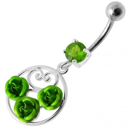 Fancy Multi Jeweled Red ROSE Dangling Banana Bar Belly Ring