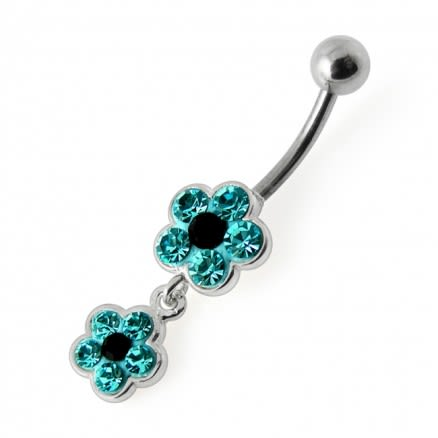 Double Jeweled Flower Silver Dangling Belly Ring With SS Banana Bar