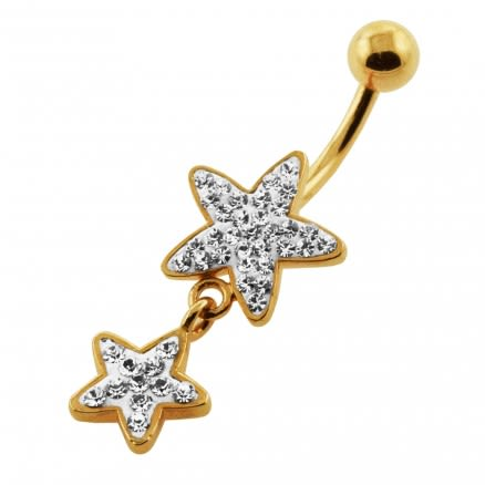 14G 10mm Yellow Gold Plated Sterling Silver Clear Jewel Multi 2 Star Belly Bar