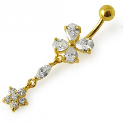 14G 10mm Yellow Gold Plated SterlingSilver Clear Jewel Danglin Flower Belly Bar