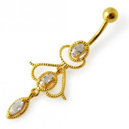 14G 10mm Yellow Gold Plated Sterling Silver Clear Jewel Fancy Charms Belly Bar