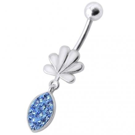 Fancy Jeweled Croen Shape Tear Drop  Dangling Belly Ring