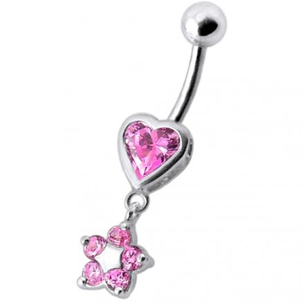Jeweled Heart with Dangling Flower Belly Ring