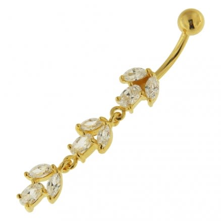 Fancy Multi Stone Jeweled Leaf Dangling Navel Ring