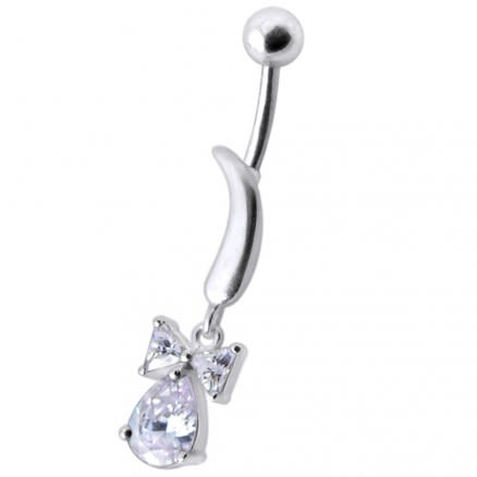 Silver Jeweled Knife Design Navel Ring Body Jewelry