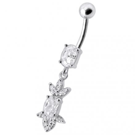 Fancy Green Stone Jeweled Dangling 316L SS Bar Belly Ring