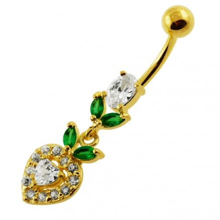 14G 10mm Yellow Gold Plated Sterling Silver Clear Jewel Multi Stone Belly Bar