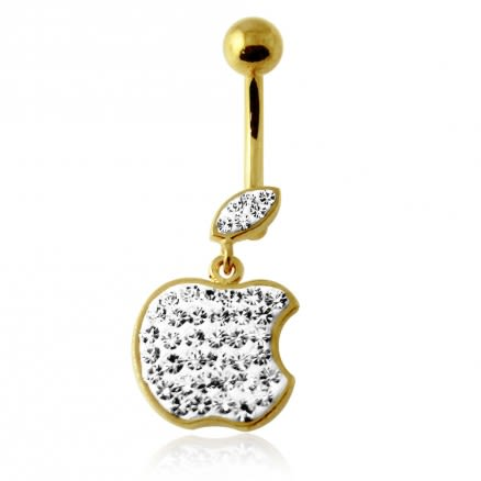 14G 10mm Yellow Gold Plated SterlingSilver Clear Jewel Dangling Apple Belly Bar