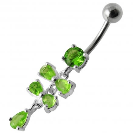 Fancy Silver Blue Stone Studded Jeweled Dangling SS Belly Ring