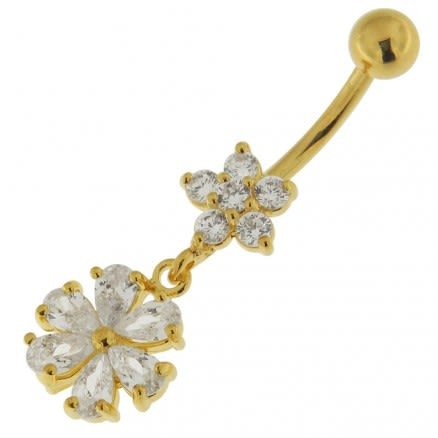 14G 10mm Yellow Gold Plated Sterling Silver Clear Jeweled Fancy Wheel Belly Bar
