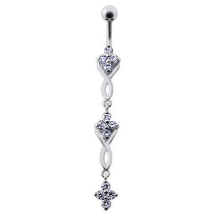 Fancy Jeweled Dangling SS Bar Navel Ring Body Jewelry