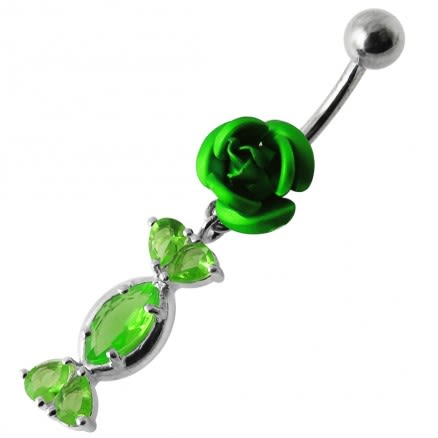 Fancy Jeweled Red Rose Dangling SS Bar Navel Ring