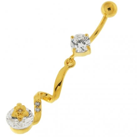 14G 10mm Yellow Gold Plated Sterling Silver Clear Jeweled Star SS Belly Bar