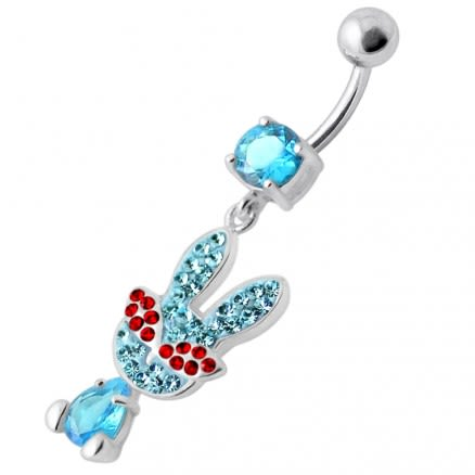Fancy Rabbit Jeweled Dangling Curved Bar Belly Ring