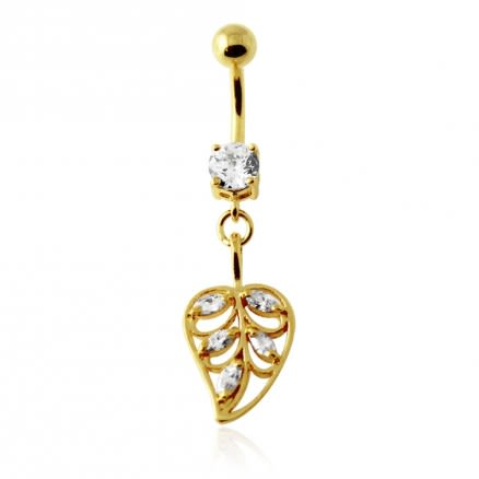 14G 10mm Yellow Gold Plated Sterling Silver Clear Jeweled Leaf Navel Belly Bar