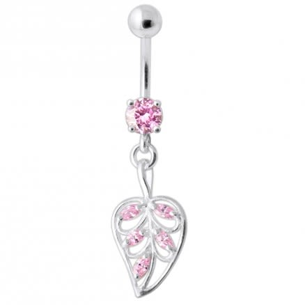 Jeweled Leaf Navel Belly Ring