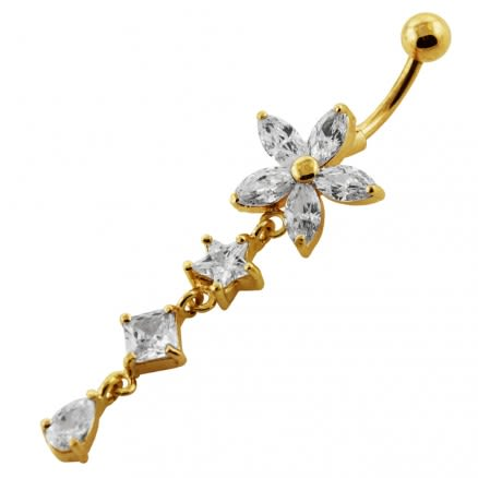 14G 10mm Yellow Gold Plated SterlingSilver Clear Jewel Studded Flower Belly Bar