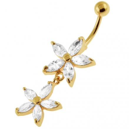 14G 10mm Yellow Gold Plated Sterling Silver Clear Jewel Multi Flower Belly Bar