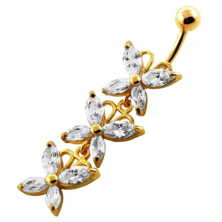 14G 10mm Yellow Gold Plated Sterling Silver Clear Jeweled 3 Butterfly Belly Bar