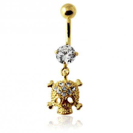 14G 10mm Yellow Gold Plated Sterling Silver Clear Jeweled Skull Navel Belly Bar