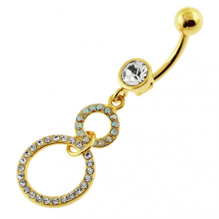 14G 10mm Yellow Gold Plated SterlingSilver Clear Jewel Round HangingS Belly Bar