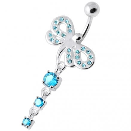 Jeweled Dragonfly Tri Round hanging Navel Bar