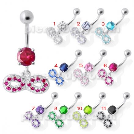 Infinity Sign Jeweled Navel  Belly Ring