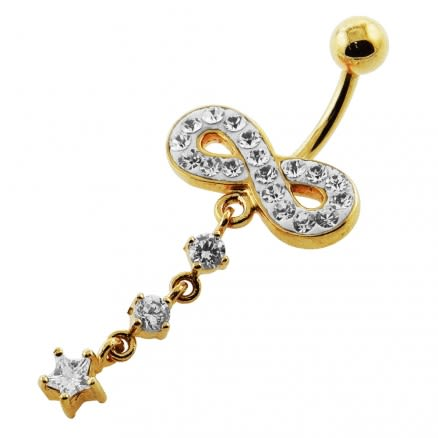 14G 10mm Yellow Gold Plated Sterling Silver Clear Jewel Infinity Star Belly Bar