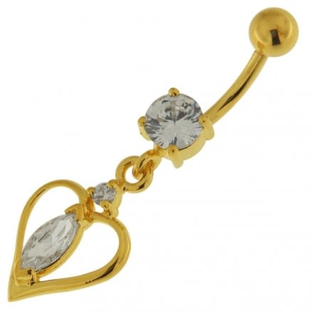 14G 10mm Yellow Gold Plated Sterling Silver Clear Jewel Center Heart Belly Bar