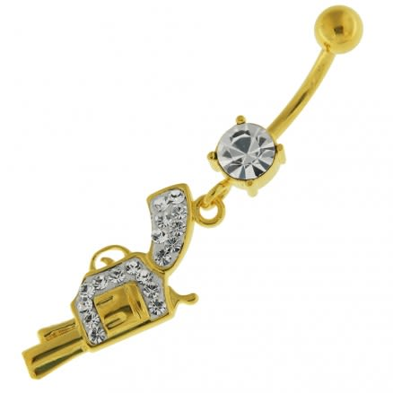 14G 10mm Yellow Gold Plated Sterling Silver Clear Jewel Dangling Gun Belly Bar
