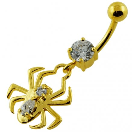 14G 10mm Yellow Gold Plated Sterling Silver Clear Jewel Fancy Spider Belly Bar