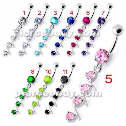 4 step Round Jeweled Dangling Navel Bar