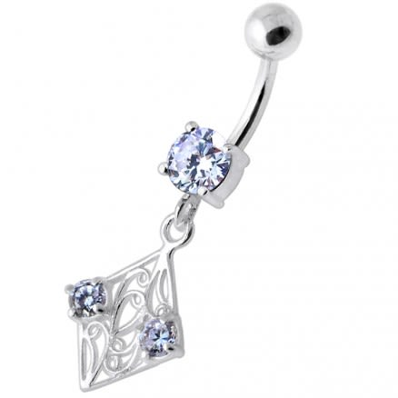 Fancy Jeweled Dangling Navel Bar PBM2086